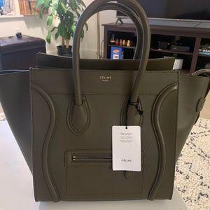 Celine Smooth Leather Mini Luggage (Khaki)